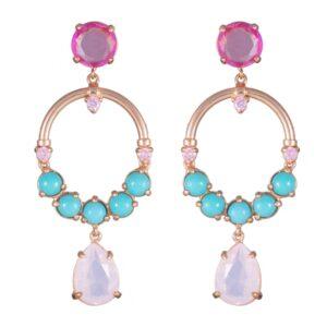 Synthetic Gemstone Earrings