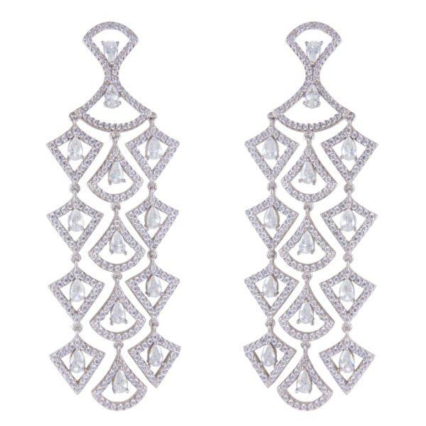silver earrings zircon